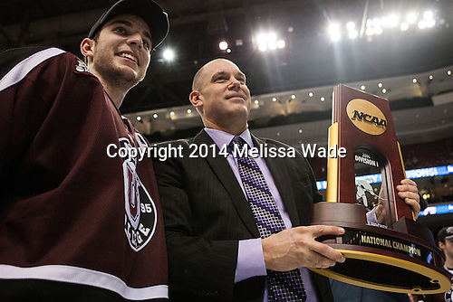 Shayne Gostisbehere (Union - 14), Rick Bennett (Union - Head Coach) - The Union College Dutchmen defeated the University of Minnesota Golden Gophers 7-4 to win the 2014 NCAA D1 men's national championship on Saturday, April 12, 2014, at the Wells Fargo Center in Philadelphia, Pennsylvania.