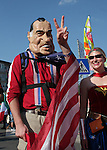 17 June 2006: An American fan in a Richard Nixon mask. Italy played the United States at Fritz-Walter Stadion in Kaiserslautern, Germany in match 25, a Group E first round game, of the 2006 FIFA World Cup.