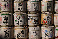 Saki (alcohol) barrels piled at Yasukuni Shrine for the festival to celebrate the new year, Tokyo, Japan December 22nd 2009