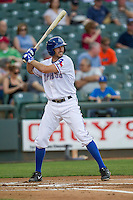 Round Rock Express shortstop Adam Rosales #9 at bat during the Pacific Coast League baseball game against the Memphis Redbirds on April 24, 2014 at the Dell Diamond in Round Rock, Texas. The Express defeated the Redbirds 6-2. (Andrew Woolley/Four Seam Images)