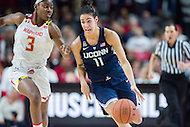 College Park, MD - DEC 29, 2016: Connecticut Huskies guard Kia Nurse (11) is guarded by Maryland Terrapins guard Kaila Charles (3) during the game between No. 1 UConn and the No. 3 Terrapins at the XFINITY Center in College Park, MD. UConn defeated Maryland 87-81. (Photo by Phil Peters/Media Images International)