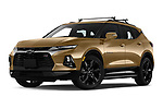 Stock pictures of low aggressive front three quarter view of 2019 Chevrolet Blazer RS 5 Door SUV Low Aggressive