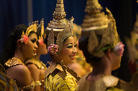 June 6th, 2008_Phnom Penh, Cambodia_ Dance troop members from the National School of Fine Arts, on stage, shortly after a performance of the newly revived work of Preah Anruch Preah Neang Ossa.  It has been some 50 years, since this classical Khmer dance piece was performed publicly and is being produced by the Amrita Performing Arts Association.   Photographer: Daniel J. Groshong/Tayo Photo Group