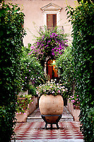 Gardens at the San Domenico Palace, built on the site of a 15th century monastery, Taormina, Sicily, Italy