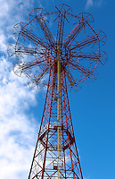 The parachute jump was built for the 1939 New York Worlds Fair which was being held Flushing Meadows Park, Queens. It was moved to the present location in 1941 at Steeplechase Park. The structure stands 262 feet and weighs 170 tons. Photo by Errol Anderson