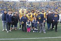 BERKELEY, CA - November 26, 2016: Cal seniors including (70) Benji Palu walk onto the field during Senior Day. Cal played UCLA at California Memorial Stadium.