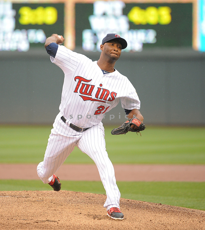 Minnesota Twins Samuel Deduno (21) during a game against the Kansas City Royals on August 17, 2014 at Target Field in Minneapolis, MN. The Royals beat the Twins 12-6.