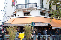 November 13 2017, PARIS FRANCE<br /> the President of France Emmanuel Macron<br /> honors the victims of the 13 november 2015<br /> in the scenes of attacks. The restaurant la Bonne Bière, place of attacks. # HOMMAGE AUX VICTIMES DES ATTENTATS DU 13 NOVEMBRE 2015