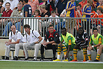 14 May 2010: Tampa Bay head coach Paul Dalglish (SCO) (left) with assistant coach Perry Van Der Beck (2nd from left). The FC Tampa Bay Rowdies defeated the Carolina RailHawks 2-1 at WakeMed Stadium in Cary, North Carolina in a regular season U.S. Soccer Division-2 soccer game.