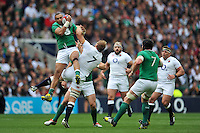 Simon Zebo of Ireland claims the ball in the air. QBE International match between England and Ireland on September 5, 2015 at Twickenham Stadium in London, England. Photo by: Patrick Khachfe / Onside Images