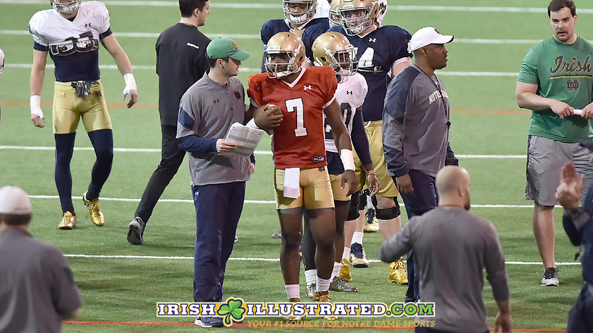 Quarterbacks coach Tom Rees, quarterback Brandon Wimbush (7)