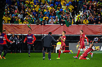 Serbia's Stanisa Mandic celebrates scoring the first goal during the FIFA Under-20 Football World Cup Final between Brazil (gold) and Serbia at North Harbour Stadium, Albany, New Zealand on Saturday, 20 June 2015. Photo: Dave Lintott / lintottphoto.co.nz