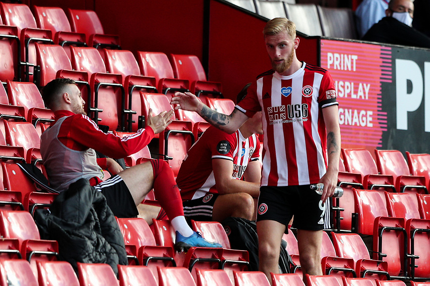 Sheffield United's Oliver McBurnie is congratulated after leaving the field<br /> <br /> Photographer Alex Dodd/CameraSport<br /> <br /> The Premier League - Sheffield United v Chelsea - Saturday 11th July 2020 - Bramall Lane - Sheffield<br /> <br /> World Copyright © 2020 CameraSport. All rights reserved. 43 Linden Ave. Countesthorpe. Leicester. England. LE8 5PG - Tel: +44 (0) 116 277 4147 - admin@camerasport.com - www.camerasport.com