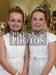 Holly Doyle and Masie Flood who received first holy communion in St. Cianan's church Duleek.  Photo:Colin Bell/pressphotos.ie
