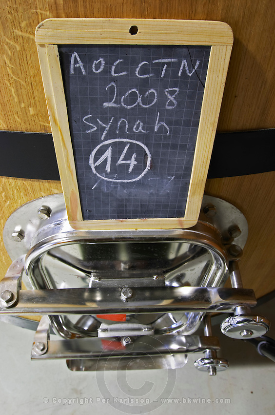 syrah tank door sign on tank domaine giraud chateauneuf du pape rhone france