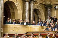 guests during the Catalan president Carles Puigdemont  speech at Catalan Parlament to declare and then postpone the Independence of Catalunya. Catalonia. In Barcelona on October 10, 2017.