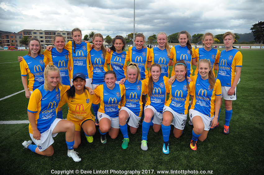 The Southern team poses for a group photo after the New Zealand Age Group Championships Under-16 Girls match between Auckland (white tops) and Southern at Memorial Park in Petone, Wellington, New Zealand on Wednesday, 13 December 2017. Photo: Dave Lintott / lintottphoto.co.nz