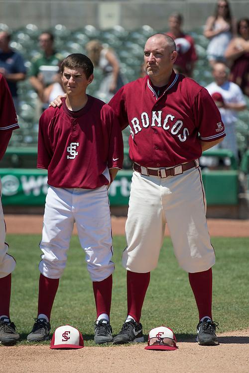 May 23, 2014; Stockton, CA, USA; Santa Clara Broncos head coach Dan O'Brien during the WCC Baseball Championship at Banner Island Ballpark.