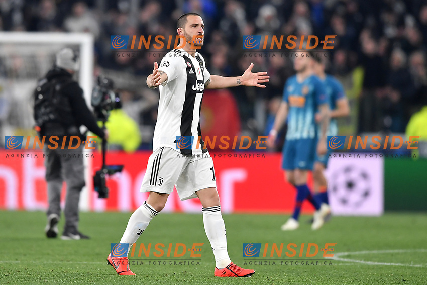 Leonardo Bonucci of Juventus celebrates the victory at the end of the Uefa Champions League 2018/2019 round of 16 second leg football match between Juventus and Atletico Madrid at Juventus stadium, Turin, March, 12, 2019 <br />  Foto Andrea Staccioli / Insidefoto