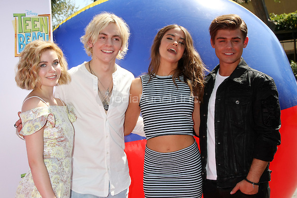 "BURBANK, CA - JUNE 22: Grace Phipps, Ross Lynch, Maia Mitchell, Garrett Clayton at the ""Teen Beach 2"" Premiere at the Walt Disney Studios on June 22, 2015 in Burbank, California. Credit: David Edwards/MediaPunch"