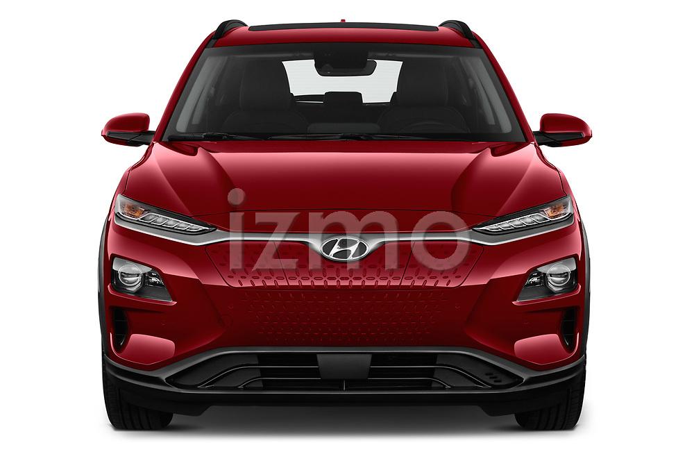 Car photography straight front view of a 2019 Hyundai Kona EV Sky 5 Door SUV