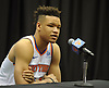 Kevin Knox of the New York Knicks fields questions during the team's Media Day held at Madison Square Garden Training Center in Greenburgh, NY on Monday, Sept. 24, 2018.