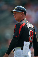 Rochester Red Wings manager Mike Quade (8) during a game against the Norfolk Tides on May 3, 2015 at Frontier Field in Rochester, New York.  Rochester defeated Norfolk 7-3.  (Mike Janes/Four Seam Images)