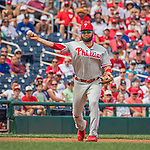 11 September 2016: Philadelphia Phillies infielder Andres Blanco gets the first out of the second inning against the Washington Nationals at Nationals Park in Washington, DC. The Nationals edged out the Phillies 3-2 to take the rubber match of their 3-game series. Mandatory Credit: Ed Wolfstein Photo *** RAW (NEF) Image File Available ***