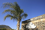 Israel, Lower Galilee. Hamoshava museum in Kfar Tavor, Mount Tabor is in the background