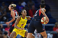 Washington, DC - Aug 8, 2019: Indiana Fever guard Tiffany Mitchell (3) plays defenses against Washington Mystics guard Natasha Cloud (9) during 1st half action of game between the Indiana Fever and the Washington Mystics at the Entertainment & Sports Arena in Washington, DC. (Photo by Phil Peters/Media Images International)