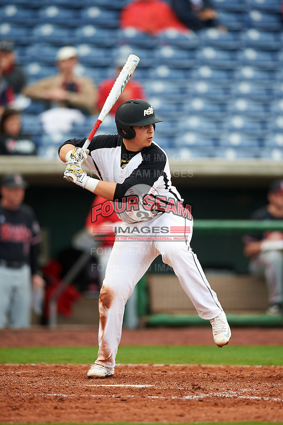 Alabama State Hornets Hunter Allen (38) at bat during a game against the Ball State Cardinals on February 18, 2017 at Spectrum Field in Clearwater, Florida.  Ball State defeated Alabama State 3-2.  (Mike Janes/Four Seam Images)