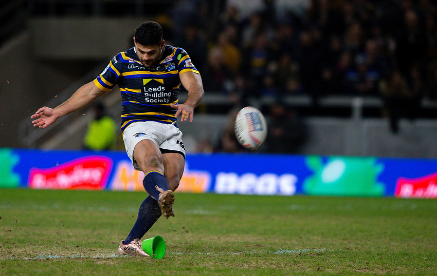 Leeds Rhinos' Rhyse Martin kicks a conversion<br /> <br /> Photographer Alex Dodd/CameraSport<br /> <br /> Betfred Super League Round 6 - Leeds Rhinos v Toronto Wolfpack - Thursday 5th March 2020 - Headingley - Leeds<br /> <br /> World Copyright © 2020 CameraSport. All rights reserved. 43 Linden Ave. Countesthorpe. Leicester. England. LE8 5PG - Tel: +44 (0) 116 277 4147 - admin@camerasport.com - www.camerasport.com