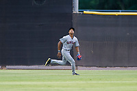 AZL Indians center fielder Quentin Holmes (70) on defense against the AZL Padres on August 28, 2017 at the San Diego Padres Spring Training Complex in Peoria, Arizona. AZL Padres defeated the AZL Indians 7-4. (Zachary Lucy/Four Seam Images)