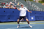 DURHAM, NC - APRIL 14: Notre Dame's Eddy Covalschi. The Duke University Blue Devils hosted the University of Notre Dame Fighting Irish on April 14, 2017, at Ambler Tennis Stadium in Durham, NC in a Division I College Men's Tennis match. Duke won the match 4-3.