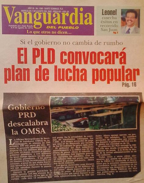 PLD ANTES CREÍA EN LA LUCHA POPULAR CONTRA OTROS GOBIERNOS 2002.