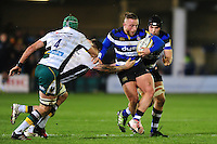 Max Lahiff of Bath Rugby takes on the Northampton Saints defence. Aviva Premiership match, between Bath Rugby and Northampton Saints on February 10, 2017 at the Recreation Ground in Bath, England. Photo by: Patrick Khachfe / Onside Images