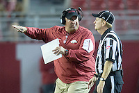 NWA Democrat-Gazette/JASON IVESTER <br /> Arkansas head coach Bret Bielema pleads his case to an official following a penalty on a blocked punt during the third quarter against Alabama on Saturday, Oct. 10, 2015, at Bryant-Denny Stadium in Tuscaloosa, Ala.