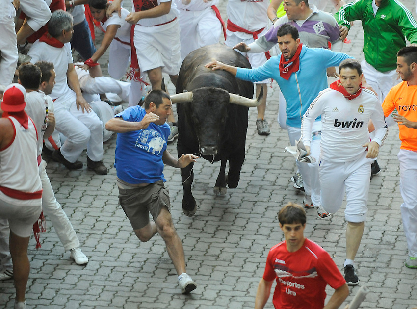 Participants run ahead of Dolores Aguirre Ybarra fighting bulls during the second San Fermin Festival´s running of the bulls, on July 8, 2013, in Pamplona, Basque Country. On each day of the eight San Fermin festival days six bulls are released at 8:00 a.m. (0600 GMT) to run from their corral through the narrow, cobbled streets of the old navarre town over an 850-meter (yard) course. Ahead of them are the runners, who try to stay close to the bulls without falling over or being gored. (Ander Gillenea / Bostok Photo)