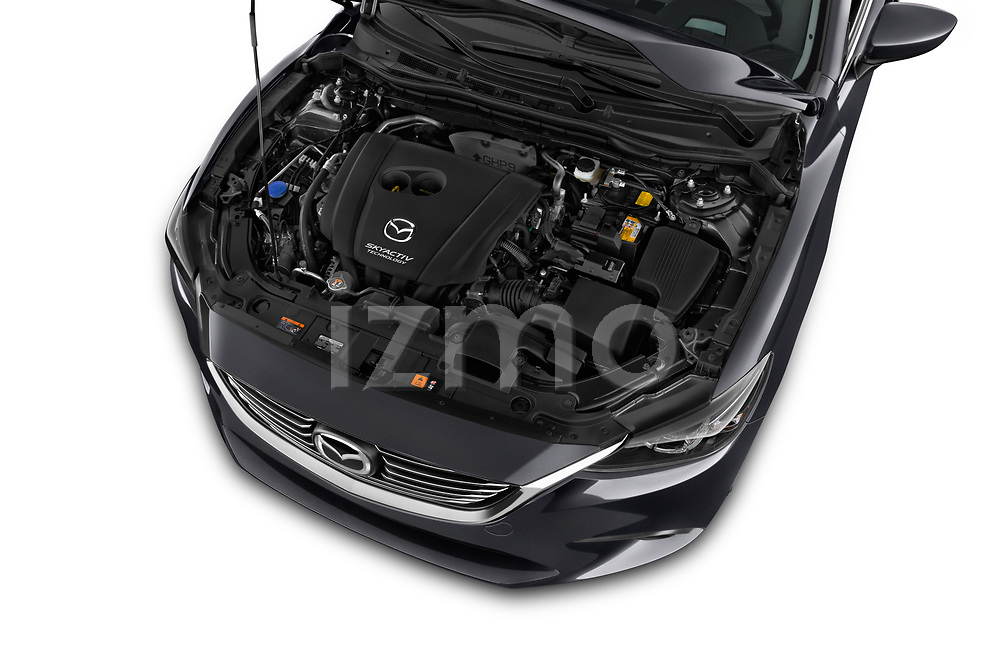 Car stock 2017 Mazda Mazda6 Prestige Edition 4 Door Sedan engine high angle detail view