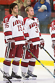 Doug Rogers (Harvard - 15), Alex Biega (Harvard - 3) - The Boston University Terriers defeated the Harvard University Crimson 6-5 in overtime on Tuesday, November 24, 2009, at Bright Hockey Center in Cambridge, Massachusetts.