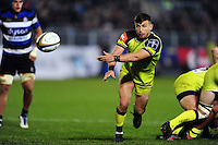 Jono Kitto of Leicester Tigers passes the ball. Anglo-Welsh Cup match, between Bath Rugby and Leicester Tigers on November 4, 2016 at the Recreation Ground in Bath, England. Photo by: Patrick Khachfe / Onside Images