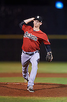 Birmingham Barons pitcher Cody Winiarski (35) delivers a pitch during a game against the Biloxi Shuckers on May 23, 2015 at Joe Davis Stadium in Huntsville, Alabama.  Birmingham defeated Biloxi 2-0 as the Shuckers are playing all games on the road, or neutral sites like their former home in Huntsville, until the teams new stadium is completed.  (Mike Janes/Four Seam Images)