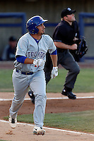 Ryan Delgado #17 of the Stockton Ports runs to first base during a game against the High Desert Mavericks at Stater Bros. Stadium on April 27, 2013 in Adelanto, California. Stockton defeated High Desert, 17-7. (Larry Goren/Four Seam Images)