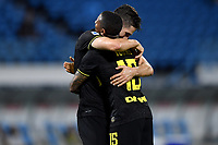 Roberto Gagliardini of FC Internazionale celebrates with Ashley Young after scoring the goal of 0-4 during the Serie A football match between SPAL and Internazionale FC at Paolo Mazza stadium in Ferrara ( Italy ), July 16th, 2020. Play resumes behind closed doors following the outbreak of the coronavirus disease. Photo Andrea Staccioli / Insidefoto