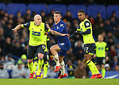 2nd February 2019, Stamford Bridge, London, England; EPL Premier League football, Chelsea versus Huddersfield Town; Ross Barkley of Chelsea challenges Aaron Mooy of Huddersfield Town with Juniho Bacuna of Huddersfield Town looking on