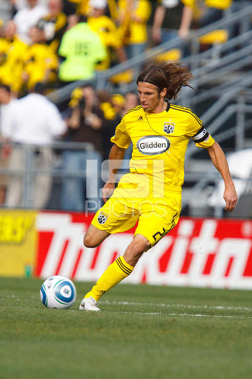 24 OCTOBER 2010: Columbus Crew defender Frankie Hejduk (2) during MLS soccer game Columbus Crew defender Frankie Hejduk (2) against the Philadelphia Union at Crew Stadium in Columbus, Ohio on August 28, 2010.