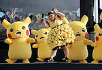 "August 12, 2016, Yokohama, Japan - Japanese actress and comedienne Naomi Watabe (C) dances with Pikachu characters, Nintendo's videogame software Pokemon's wellknown character at a show ""Super Soaking Splash Show"" in Yokohama, suburban Tokyo on Friday, August 12, 2016. The Pikachu mascots perfom the several shows daily to attract summer vacationers as a part of the ""Great Pikachu Outbreak"" event through August 14.    (Photo by Yoshio Tsunoda/AFLO) LWX -ytd-"