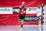 Eskilstuna 2014-10-03 Handboll Elitserien Eskilstuna Guif - Alings&aring;s HK :  <br /> Eskilstuna Guifs Mathias Tholin jublar efter ett av sina m&aring;l i matchen mot Sk&ouml;vde<br /> (Foto: Kenta J&ouml;nsson) Nyckelord:  Eskilstuna Guif Sporthallen IFK Sk&ouml;vde HK jubel gl&auml;dje lycka glad happy