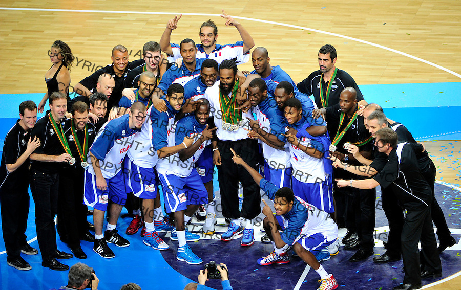 Victory ceremony, France , Second place, silver medal, final Eurobasket 2011 game between Spain and France in Kaunas, Lithuania, Sunday, September 18, 2011. (photo: Pedja Milosavljevic)