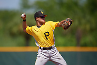 Pittsburgh Pirates shortstop Francisco Acuna (3) warmup throw to first base during an Instructional League intrasquad black and gold game on September 28, 2017 at Pirate City in Bradenton, Florida.  (Mike Janes/Four Seam Images)